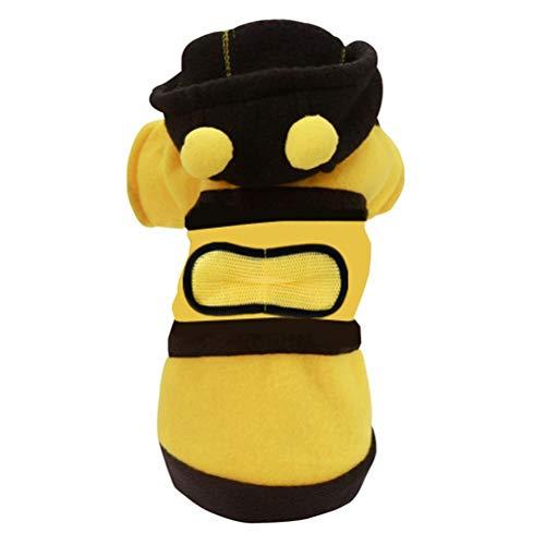 VILLCASE Disfraz de mascota para perro, ropa de una pieza, disfraz de abeja de cuatro patas, color amarillo y negro, talla S para perros