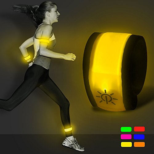 BSEEN LED Slap Armband - Light Up Night Safety Wrist Band Bracelet with Replace Batteries - Glow in The Dark for Running, Cycling, Biking, Walking (Yellow)