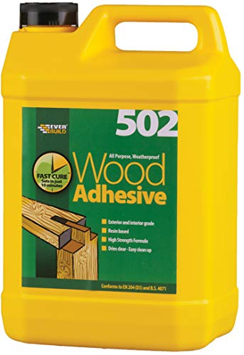 Everbuild 502 All Purpose Weatherproof Wood Adhesive, Dries Clear, 5 Litre