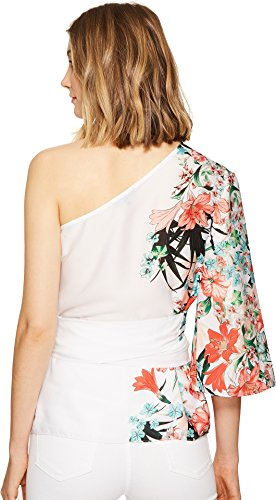 XOXO Women's Printed One Shoulder Top with Tie, Multi, Large