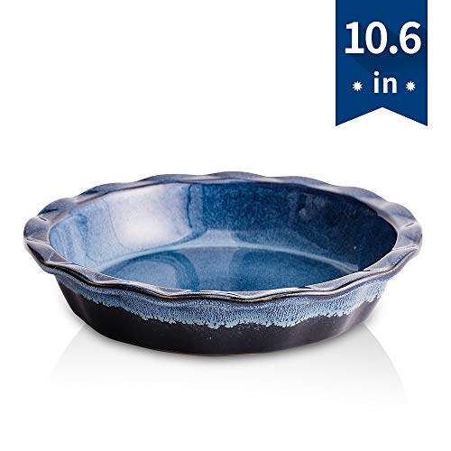KOOV Ceramic Pie Pan, 9 Inches Pie Plate, Pie Dish for Dessert Kitchen, Round Baking Dish for Dinner, Reactive Glaze (Nebula Blue)
