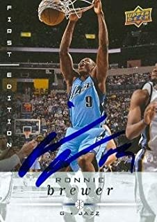 Autograph Warehouse 75868 Ronnie Brewer Autographed Basketball Card Utah Jazz 2008 Upper Deck 1St Edition No .193