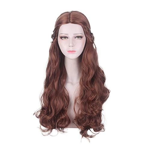 Movie Beauty and The Beast-prinses Belle Cosplay Pruiken for alle huid Vrouwen, 65cm Mixed Brown Lang Krullend Haar Hoge temperatuur vezel Pruik themafeest Wig