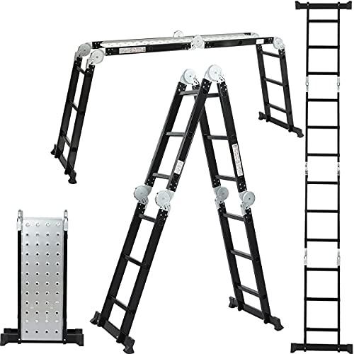 ALDORR Professionnelle 4x3 Échelons | Échelle Articulée Multifonctions avec Barres Stabilisatrices et Charnières de Sécurité | Aluminium | 2 plaques déchafaudage | Max 150 kg