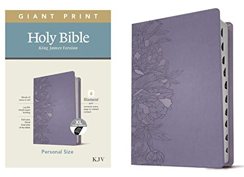 KJV Personal Size Giant Print Holy Bible (Red Letter, LeatherLike, Peony Lavender, Indexed): Includes Free Access to the Filament Bible App Delivering ... Notes, Devotionals, Worship Music, and Video