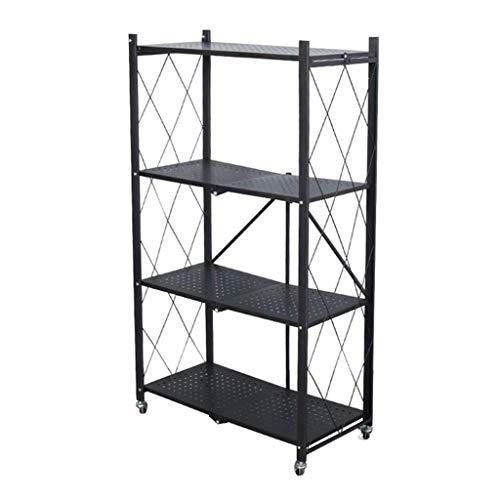 QAQA Storage Shelves with Wheels, Foldable Storage Shelves Mobile Storage Rack Wide, Bathroom Shelf Book Kitchen Storage Rack, Plant Display Shelf, No Assembly Needed