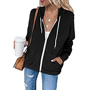 Women's Full-Zip Up Hoodie Long Sleeve Hooded Sweatshirts Pockets Jacket Coat for Women