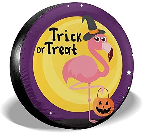 Halloween Flamingo Pumpkin - Cubierta para llanta de repuesto,poliéster,universal,de 14 pulgadas,para llantas de repuesto para remolques,casas rodantes,SUV,ruedas de camiones,camiones,caravanas,acces