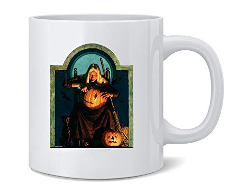 Poster Foundry Witch Carving Pumpkin Retro Vintage Halloween Ceramic Coffee Mug Tea Cup Fun Novelty Gift 12 oz