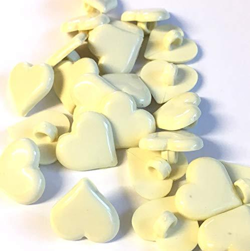10 boutons en forme de cœur crème 15 mm avec tige arrière.