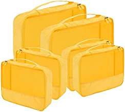 Packing Cubes for Travel Accessories Luggage Organizer Bag Set Clothes Carry on Suitcase Bags (Yellow)