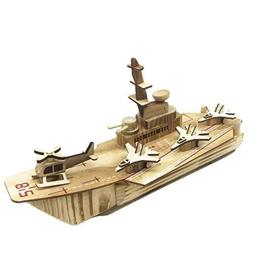 M & A Kit de construcción vintage de madera para adultos, modelo de portaaviones antiguo, modelo nostálgico de barco de madera, decoración de maquetas de artesanías