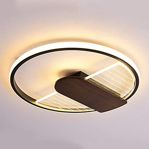 Luces de Dormitorio LED Regulable 42W, Lámpara de Techo de Anillo Redondo Ultrafina Moderna con Decoración de Madera, Luz de Techo de Metal Negro Contiene Control Remoto, Luces de la sala, Ø50cm