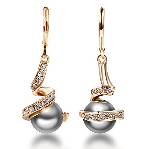 Mimei Boucles d'oreilles Perle Grise, 18k Or plaqué Et Cristal, Boucles d'oreilles Pendantes Femmes Maman, Cadeau Noël Anniversaire Mariage
