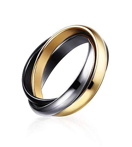 POVANDER Anillo de boda ruso de acero inoxidable triple de 3 tonos entrelazados...