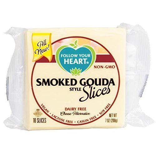 Follow Your Heart Lonchas de queso vegano - Estilo Gouda Ahumado (200g) | VEGANO | SIN GLUTEN (Pack de 3)