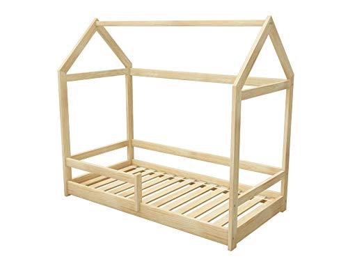 ACMA Kinderbett Kinderhaus Kinder Bett Holz Haus Schlafen Spielbett Hausbett 2 - Massivholz (Natural Massivholz, 70 x 140 cm)