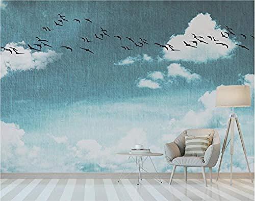 ZJfong foto behang 3D effect behang eenvoudige witte wolken van de blauwe hemel de vogels vliegen ontwerp muurschilderingen wanddecoratie 350 x 245 cm.