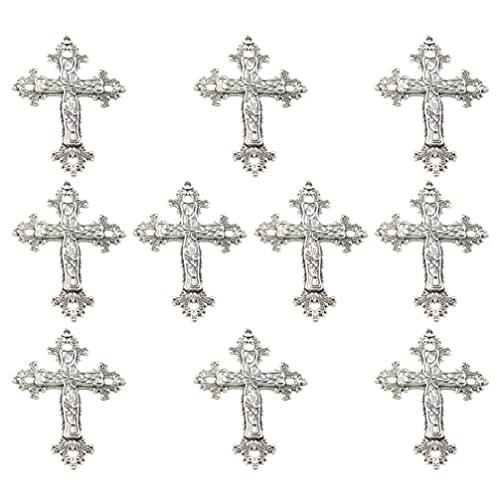 10 Uds colgantes de cruz de plata antigua abalorios para manualidades DIY collar pulsera fabricación de joyas accesorios