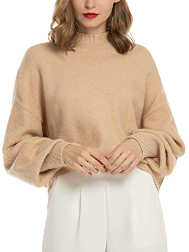 Jersey Mujer Punto Jerseys de Mujer para Invierno Camiseta Manga Larga Sueter Basico Suelto Jerseys Cuello Redondo Casual Sudadera para Mujer Beige