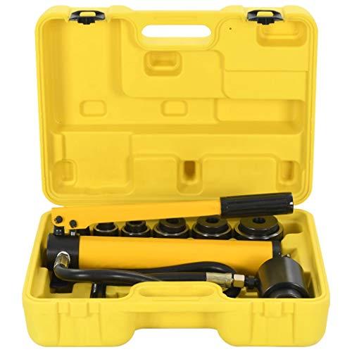 vidaXL Hydraulisch Blechlocher Lochstanze Blech Locher Puncher Locheisen Hydrauliczne Werkzeuge Zylinder Hydraulikpumpe Set im Koffer 22-60mm Stahl