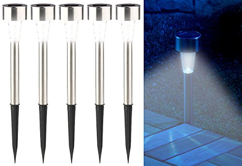 PEARL Solar Gartenlampen: 5er-Set Mini-Solar-LED-Wegeleuchten mit Dämmerungssensor, IP44 (Solar Wegleuchte)