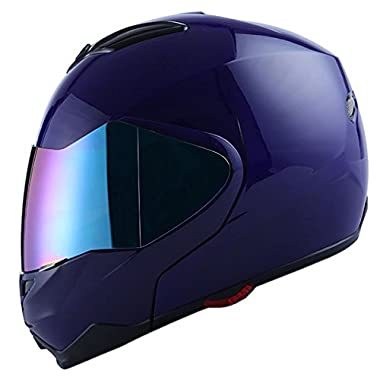 1Storm Motorcycle Street Bike Modular/Flip up Dual Visor/Sun Shield Full Face Helmet Glossy Blue