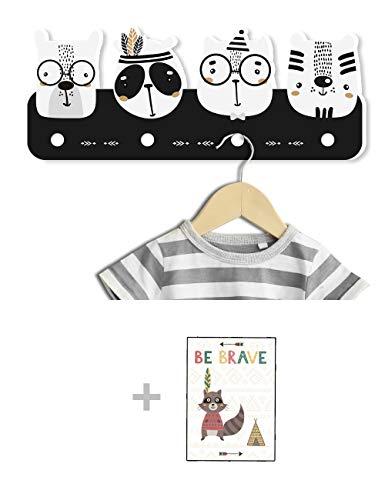 Kindsblick ® Indianer Kindergarderobe in Schwarz/Weiß inkl. DIN A4 Poster - Garderobe mit 4 Kleiderhaken für Kinder - Wunderschöne Deko für jedes Kinderzimmer - Maße (38 x 15 x 1 cm)