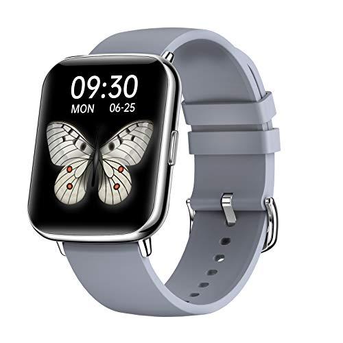FMSBSC Smartwatch Mujer Hombre Reloj Inteligente Monitor De Sueño Pulsómetros, 24 Modos Deportivos Fitness Tracker,Gris