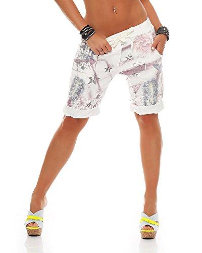 Zarmexx Damen Bermuda Shorts Baggy Hose Boyfriend Freizeithose Kurze Hose mit Blumendruck Baumwolle One Size (Flieder)