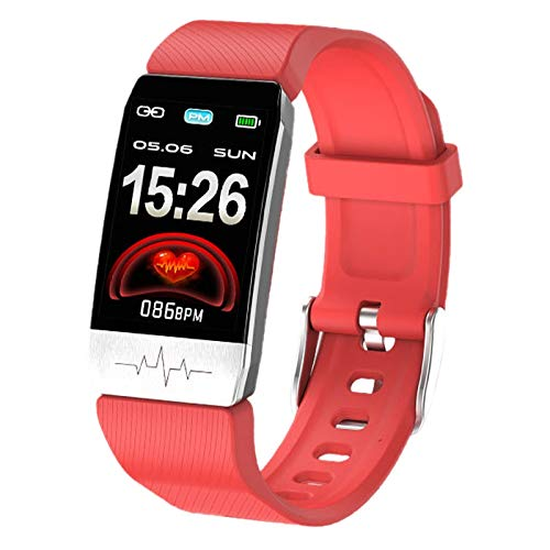Haudang T1 - Pulsera de medición de temperatura, ECG, frecuencia cardíaca, presión arterial, oxígeno en sangre, monitor de inmunidad multideportiva, recordatorio inteligente