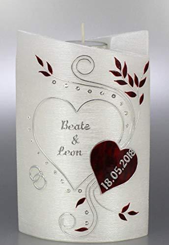 Moderne Hochzeitskerze mit Teelicht, Ovalform mit edler Perlmuttstruktur, 19x13 cm, rot silberfarbig - 1364 - mit Namen, Datum und mit Karton zur Aufbewahrung. Perlmutt Brautkerzen.