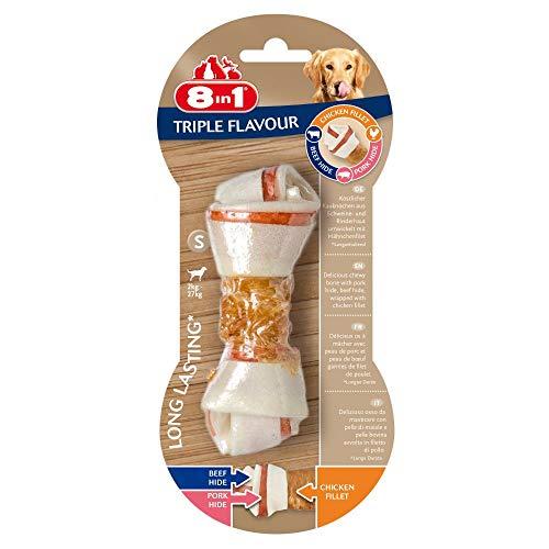 8in1 Triple Flavour Kauknochen S, Hundeknochen mit leckerem Hähnchenfilet, 1 Stück