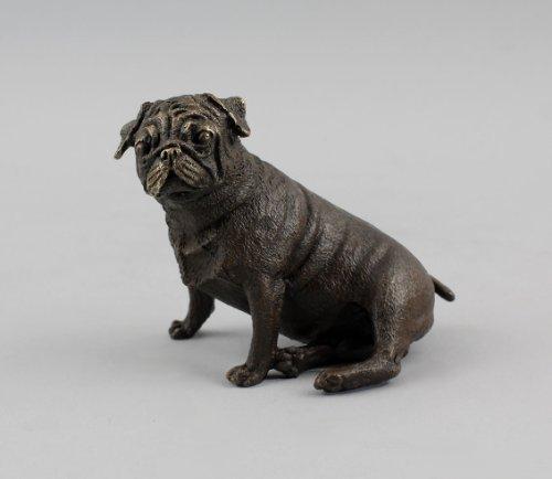 Chien bulldog assis-bronze