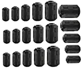 Pienoy 20 PCS EMI RFI Noise Filter Cable Ring/Noise Filter Suppressor Cable Clip for 3mm/ 5mm/ 7mm/ 9mm/ 13mm Diameter/Video Cable Power Cord (Black)