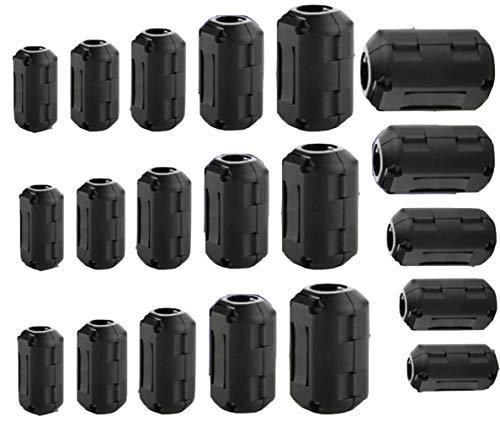 Pienoy 20 PCS EMI RFI Noise Filter Cable Ring/Noise Filter Suppressor Cable Clip for 3mm/ 5mm/ 7mm/ 9mm/ 13mm Diameter/Video Cable Power Cord (Black)