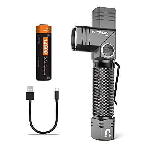 NICRON Mini Taschenlampe LED mit 90 Grad Drehbar Kopf, Magnet, 700 Lumen Handlampe, IP65 Wasserdicht 5 Modi Memory Funktion für Outdoor Wandern inkl. Aufladbar 14500 Batterie B74