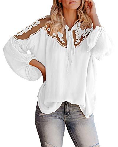 Style Dome Bluse Damen Chiffon Sexy Spitzen Langarmshirt Elegante Oberteile Loose Tunika Tops Weiß-E03594 M