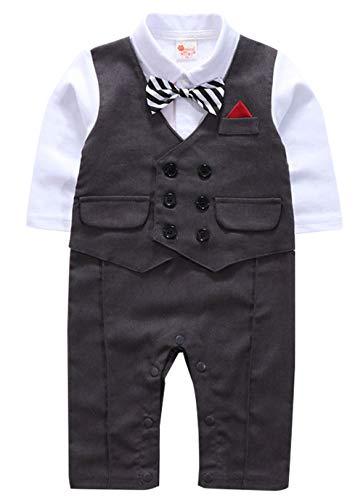 cool elves - Ropa Bebés Niños de Bautizo Mono Romper para Bebés de 3-18 Meses con Pajarita Algodón para Bautismo Fiesta Boda - Gris Kaqui