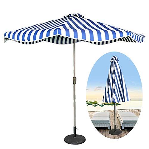 GBTB Sombrilla de 9 pies / 2.7 m para Patio al Aire Libre con Rayas, para jardín, terraza, Patio Trasero y Piscina, Protector Solar UV50 +, 5 Colores (Color: Azul y Blanco a Rayas)