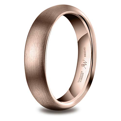 AW BRIDAL Anillo Cepillado para Mujeres/Hombres, Oro Rosa de 4 mm, para Bodas, Compromiso, Asociación, Tamaño22