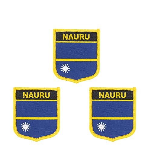 3 Stück Aufnäher, Motiv: Nauru Flagge, bestickt, Schild-Form, zum Aufbügeln oder Aufnähen.