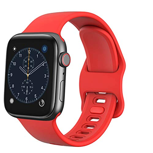 TopPerfekt - Cinturino di ricambio per Apple Watch, 38 mm, 40 mm, in morbido silicone, per iWatch Series 5, 4, 3, 2, 1 (rosso, 38/40 mm)