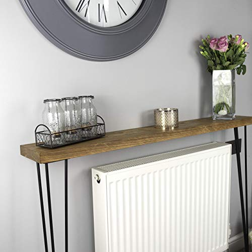 Solid Wood Narrow Rustic Console Table with Hairpin Legs