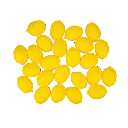 Fasmov 24 Pack Artificial Lemons Fake Lemons Faux Lemons Fruits Yellow Lemon for Fake Fruit Bowl, Home Kitchen Table Cabinet Party Decor Photography Prop