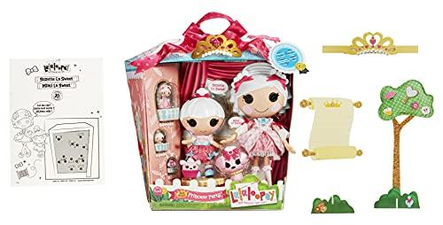 Lalaloopsy Sew Royal Princess Party - Suzette & Mimi La Sweet, 4 Princess Dolls (Large + Littles + Minis) + 3 Pets and Tiara, in Reusable Castle Package playset, for Ages 3-103,580720C3