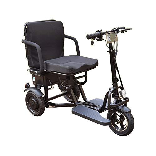 JHKGY Scooter Eléctrico Plegable De Movilidad,Scooters De Viaje Eléctricos Portátiles Ligeros De 3 Ruedas -Scooter Eléctrico De Viaje para Ancianos/Discapacitados/Al Aire Libre,Negro