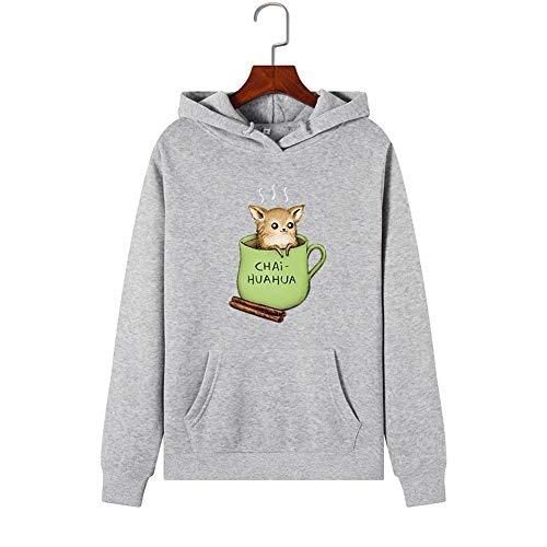 Shirt Le donne con cappuccio grigia Sport Teacup Rat Motivo stampa Pullover femminile Felpa con...
