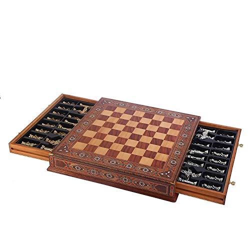 WANGZHI Juego de ajedrez metálico Ejército británico Medieval Antiguo de Cobre Piezas Hechas a Mano de la Perla Original a Bordo de Almacenamiento Dentro del Rey 9cm