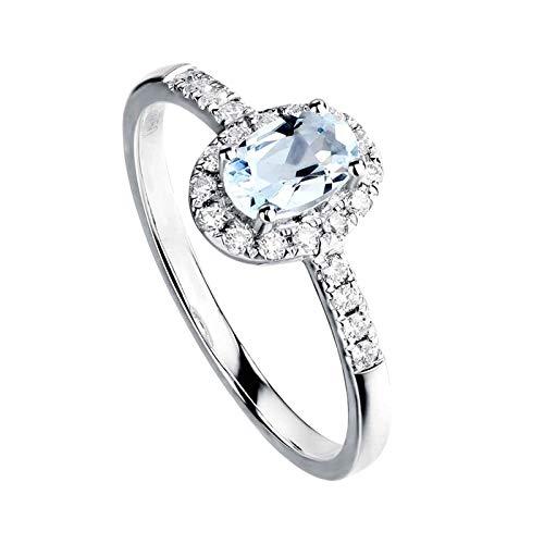 Daesar Ringe 750 Weißgold Frauen Halo mit Aquamarin Verlobungsring Weißgold Ring mit Diamant Große 53 (16.9)